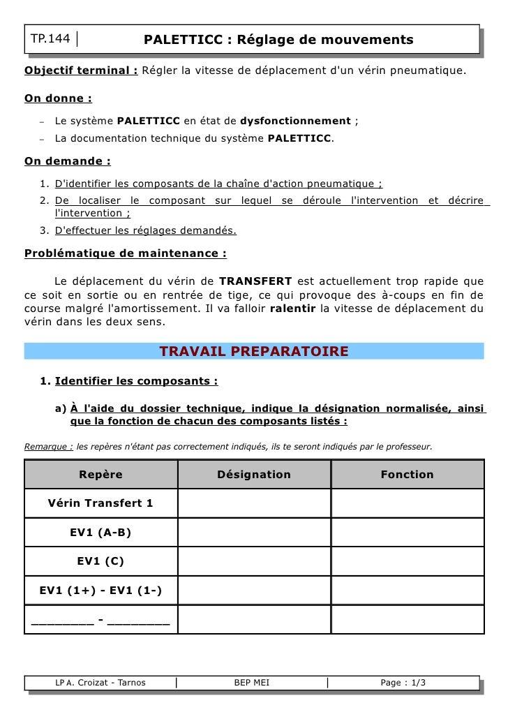 TP.144                       PALETTICC : Réglage de mouvements  Objectif terminal : Régler la vitesse de déplacement d'un ...