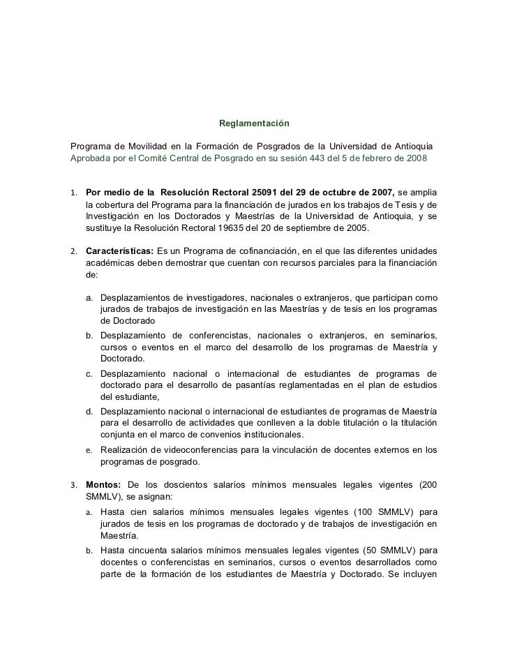 ReglamentaciónPrograma de Movilidad en la Formación de Posgrados de la Universidad de AntioquiaAprobada por el Comité Cent...