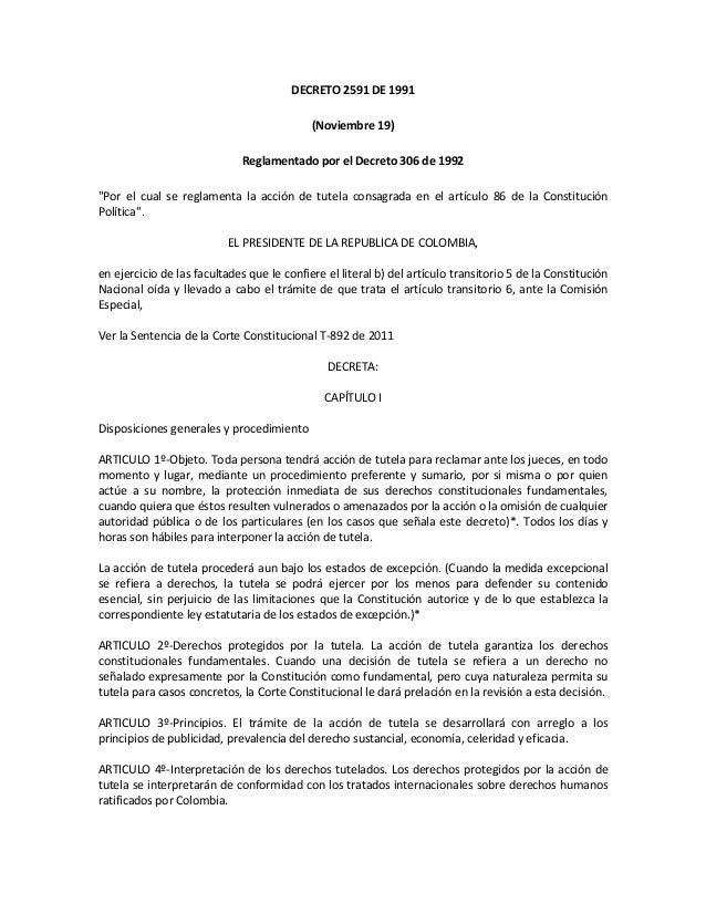 DECRETO 2591 DE 1991                                            (Noviembre 19)                             Reglamentado po...