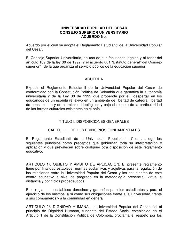 UNIVERSIDAD POPULAR DEL CESAR                     CONSEJO SUPERIOR UNIVERSITARIO                              ACUERDO No. ...