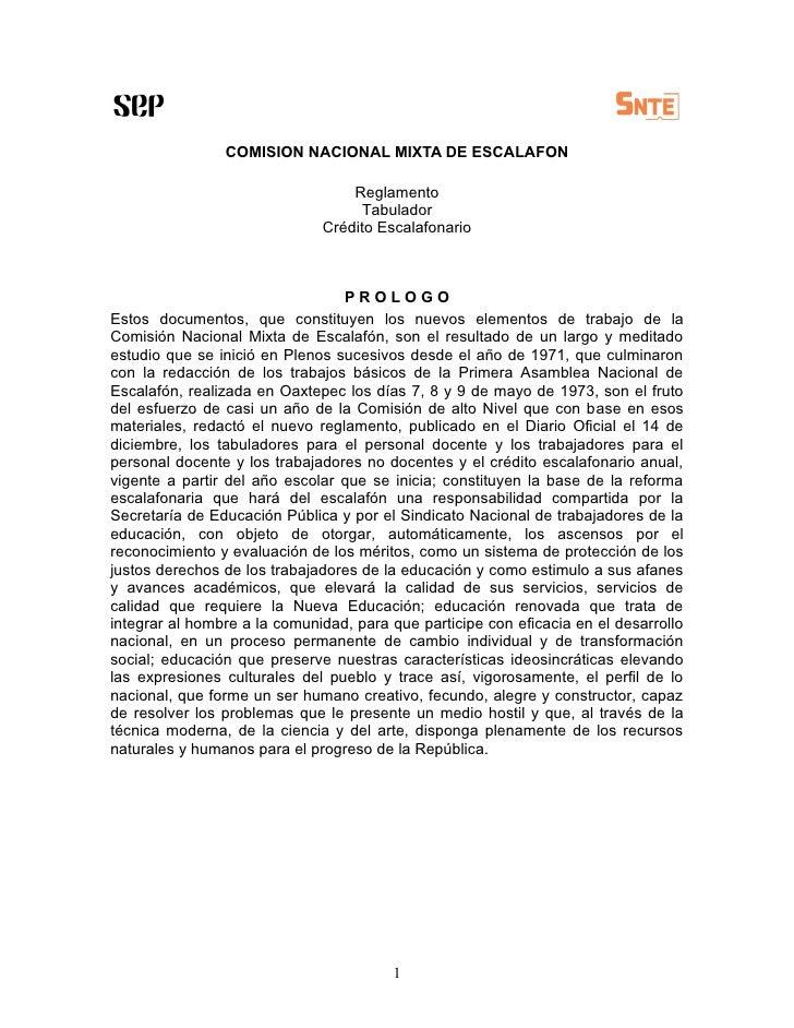 COMISION NACIONAL MIXTA DE ESCALAFON                                    Reglamento                                    Tabu...