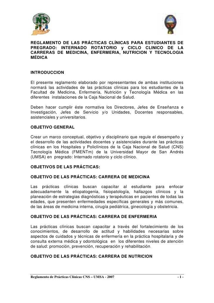 REGLAMENTO DE LAS PRÁCTICAS CLÍNICAS PARA ESTUDIANTES DE PREGRADO: INTERNADO ROTATORIO y CICLO CLINICO DE LA CARRERAS DE M...