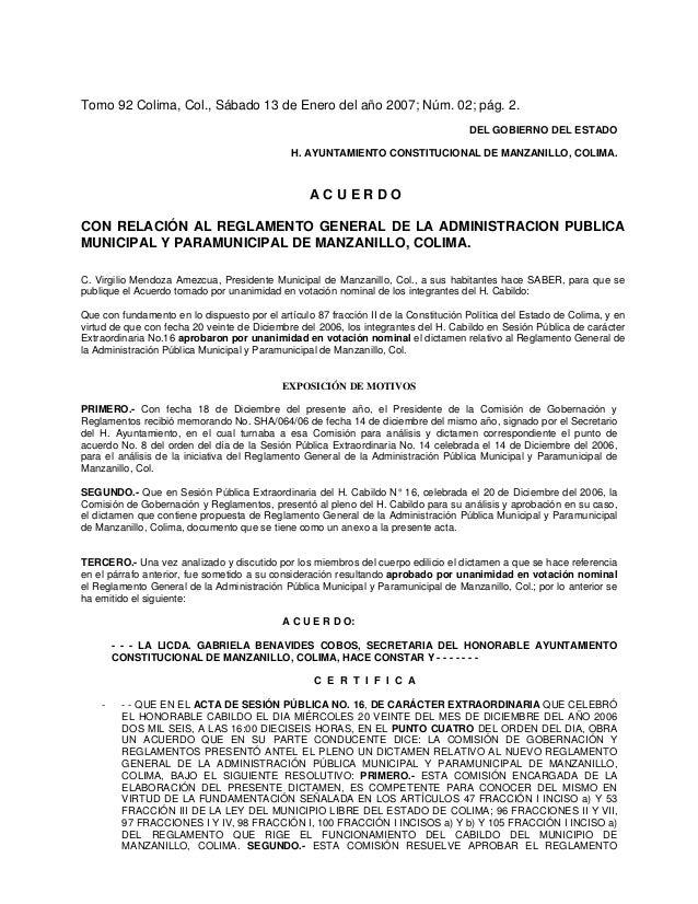 Tomo 92 Colima, Col., Sábado 13 de Enero del año 2007; Núm. 02; pág. 2.                                                   ...