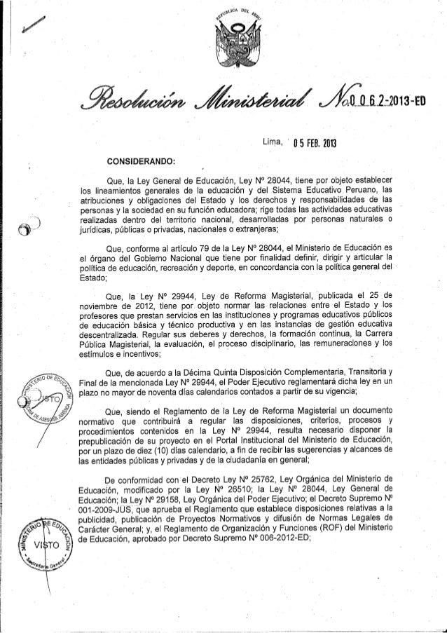 LEY DE REFORMA MAGISTERIAL                               PROYECTO DE REGLAMENTO DE LA LEY DE REFORMA MAGISTERIAL          ...