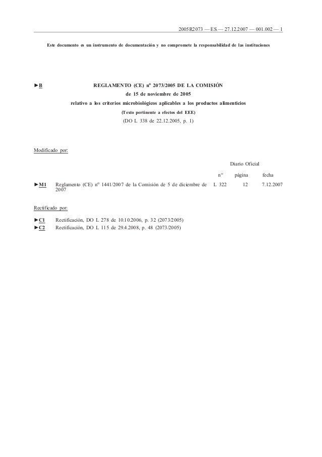 2005R2073 — ES — 27.12.2007 — 001.002 — 1 Este documento es un instrumento de documentación y no compromete la responsabil...
