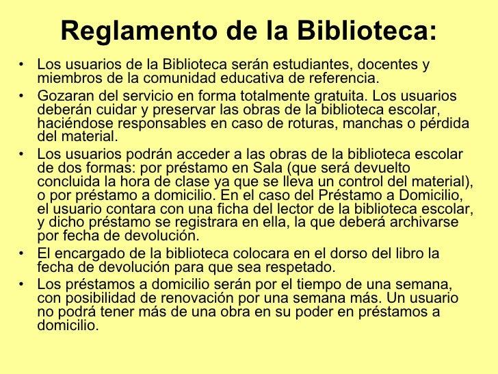 Reglamento De Biblioteca
