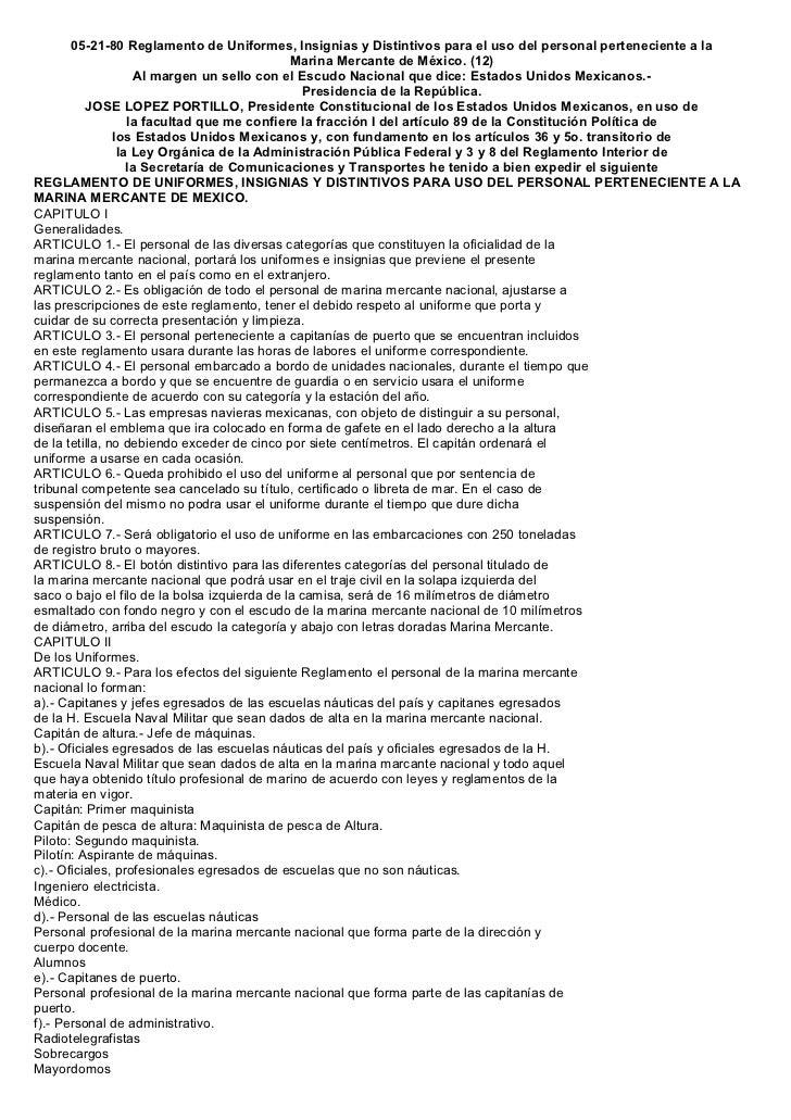 05-21-80 Reglamento de Uniformes, Insignias y Distintivos para el uso del personal perteneciente a la                     ...