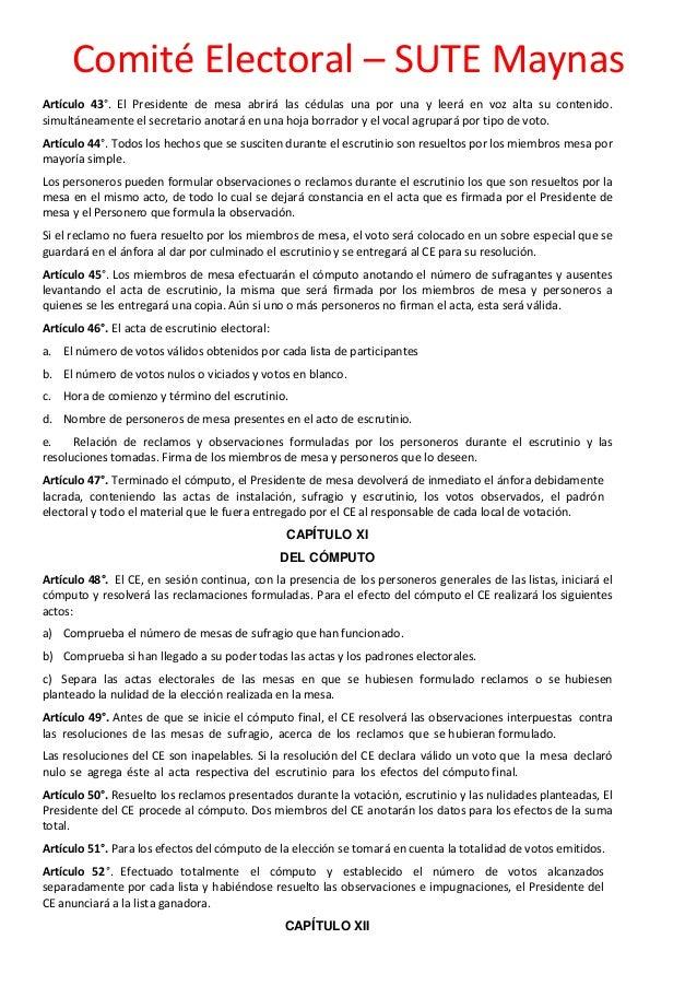 Reglamento de elecciones universales del sute maynas 2016 for Presidente mesa electoral