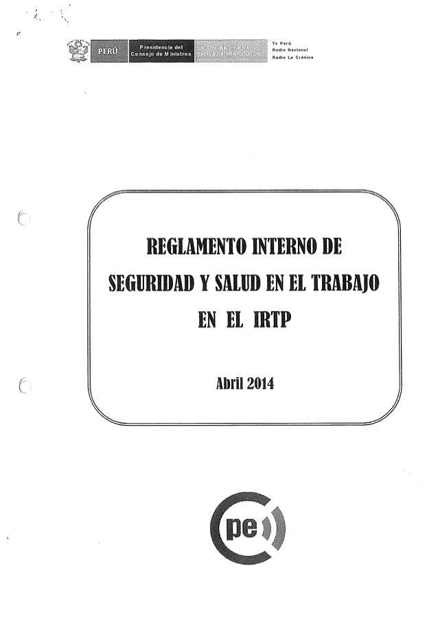 Tv Pan':  Radln Naclonal  Radio La Crfinicu  REGLAMENTO INTERNO DE SEGIJRIDAB Y SALIJD EN 13!,  TRABMO EN El IRTP  Abril 2914