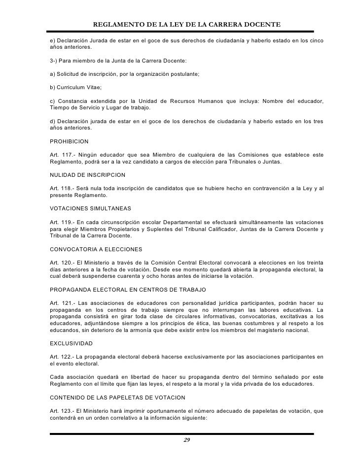Reglamento Ley Carrera Docente