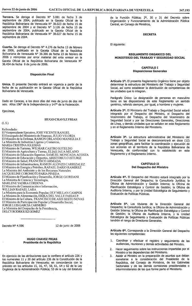 Reglamento OrgáNico Del Ministerio Del Trabajo Y Seguridad Social.