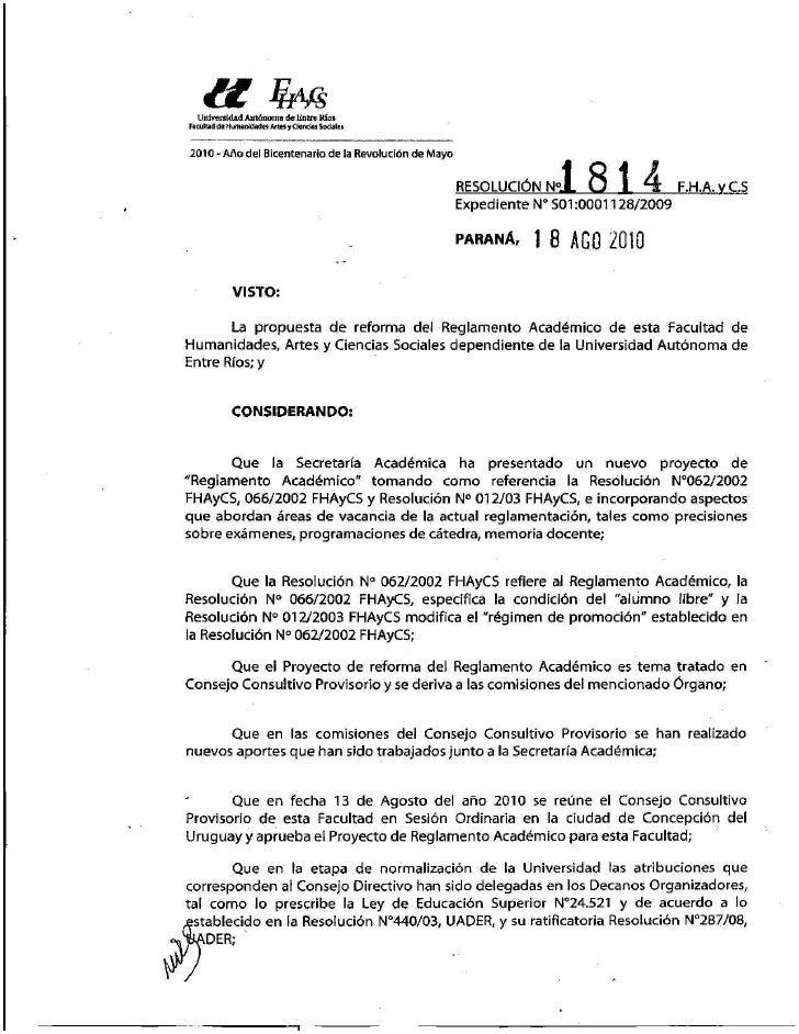 Reglamento académico FHAyCS - UADER (Resolución 1814)