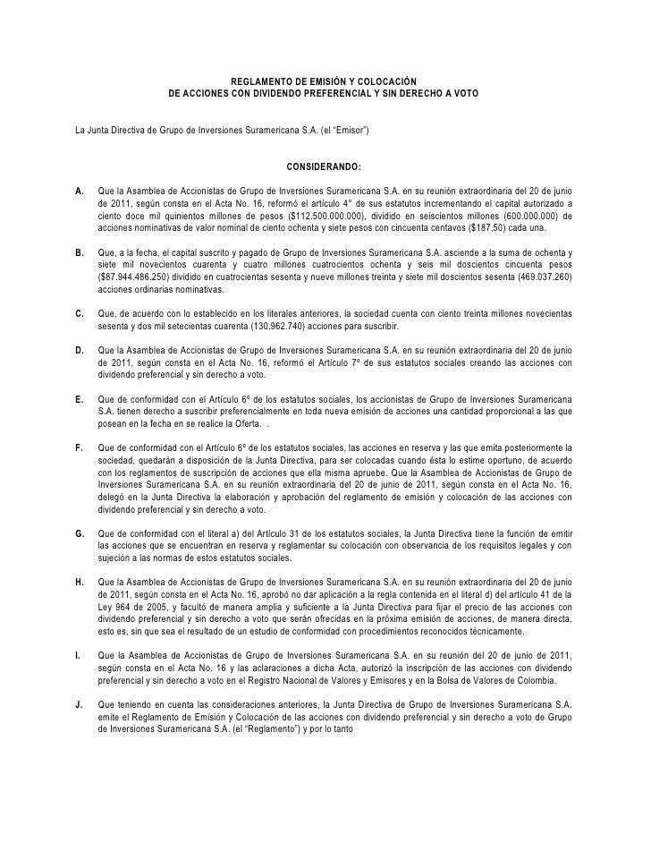 REGLAMENTO DE EMISIÓN Y COLOCACIÓN                       DE ACCIONES CON DIVIDENDO PREFERENCIAL Y SIN DERECHO A VOTOLa Jun...