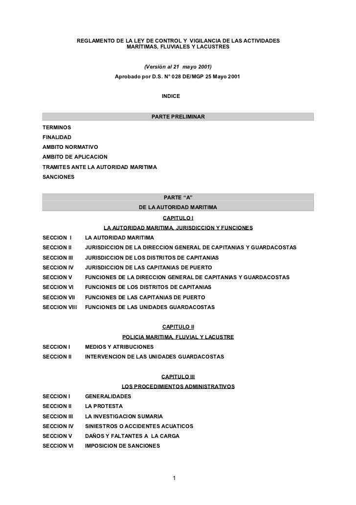 REGLAMENTO DE LA LEY DE CONTROL Y VIGILANCIA DE LAS ACTIVIDADES                              MARÍTIMAS, FLUVIALES Y LACUST...