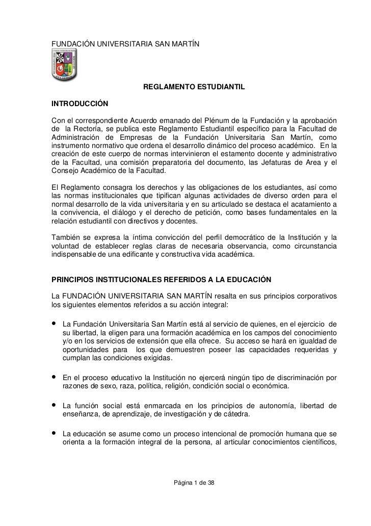 FUNDACIÓN UNIVERSITARIA SAN MARTÍN                             REGLAMENTO ESTUDIANTILINTRODUCCIÓNCon el correspondiente Ac...