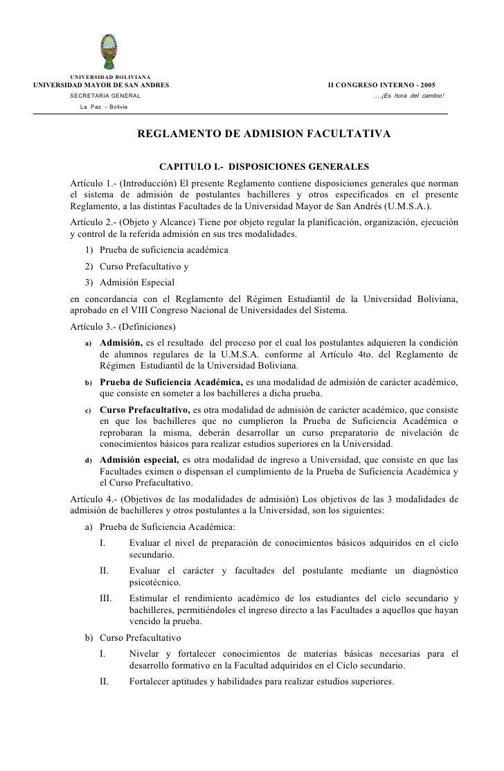 UNIVERSIDAD BOLIVIANA UNIVERSIDAD MAYOR DE SAN ANDRES                                                 II CONGRESO INTERNO ...