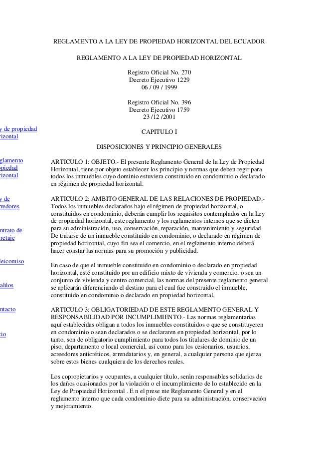 REGLAMENTO A LA LEY DE PROPIEDAD HORIZONTAL DEL ECUADOR                           REGLAMENTO A LA LEY DE PROPIEDAD HORIZON...