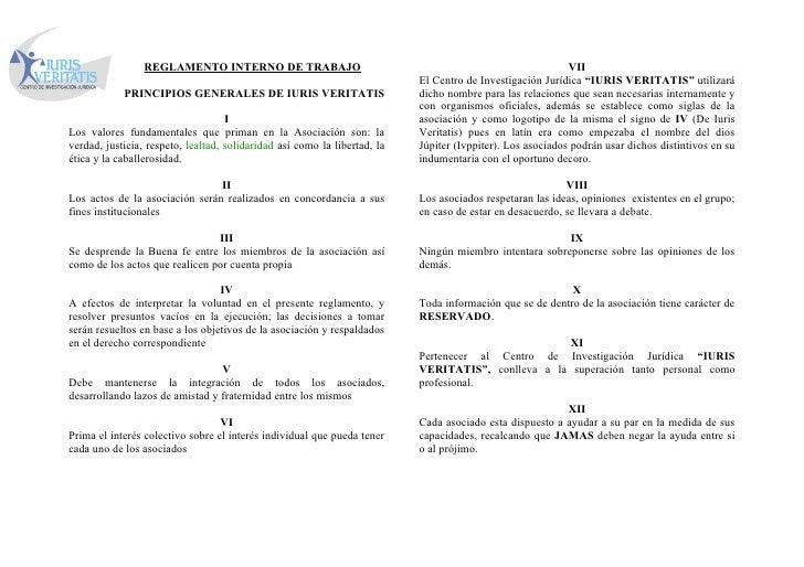 REGLAMENTO INTERNO DE TRABAJO                                                              VII                            ...