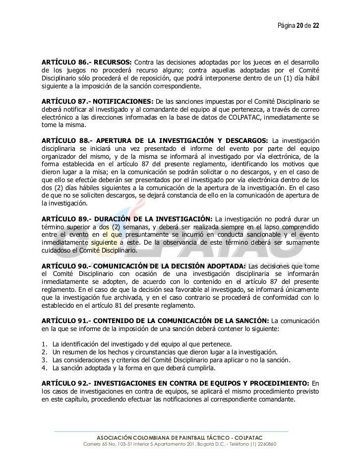 Página 20 de 22ARTÍCULO 86.- RECURSOS: Contra las decisiones adoptadas por los jueces en el desarrollode los juegos no pro...