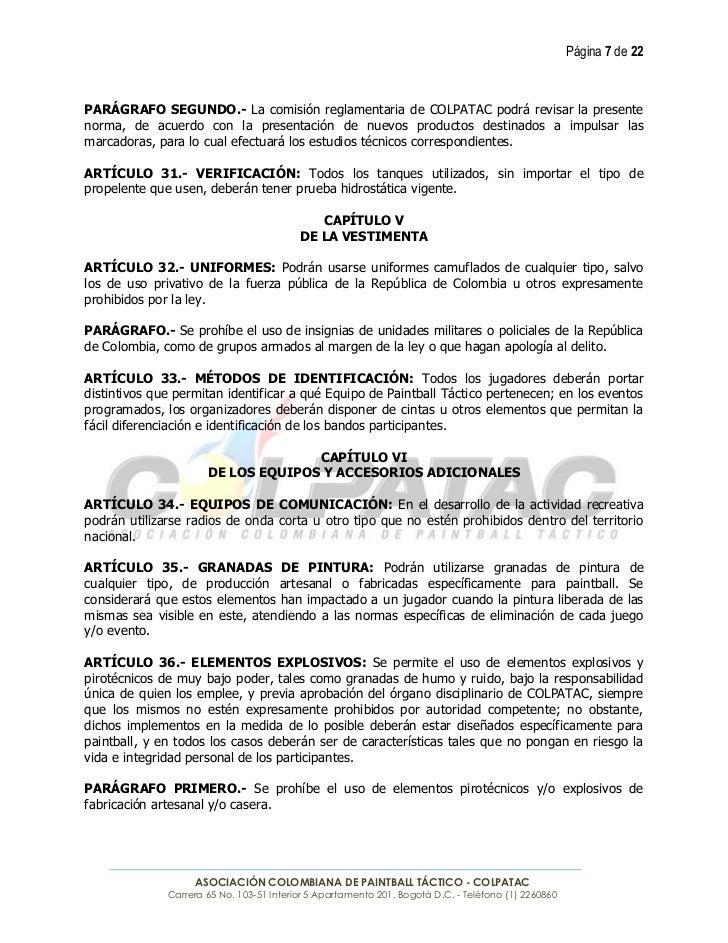 Página 7 de 22PARÁGRAFO SEGUNDO.- La comisión reglamentaria de COLPATAC podrá revisar la presentenorma, de acuerdo con la ...