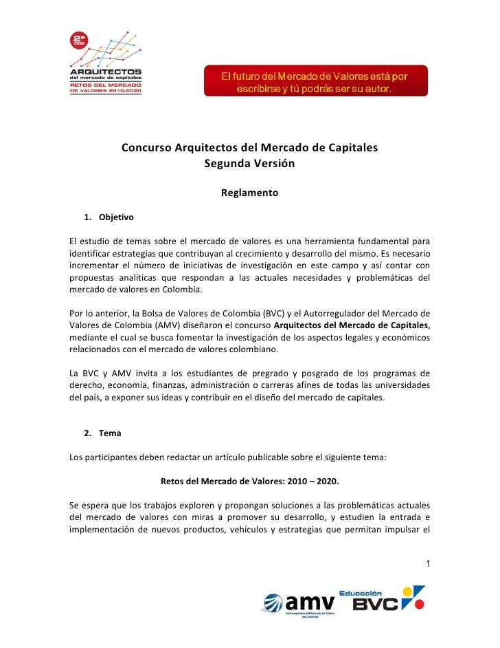 Concurso Arquitectos del Mercado de Capitales                           Segunda Versión                                   ...