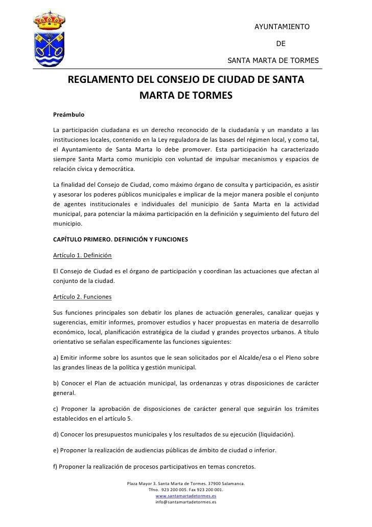 Reglamento Consejo Ciudad Ayto. Santa Marta de Tormes