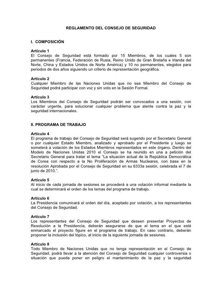 Reglamento CS y Reglas de Procedimiento Parlamentario