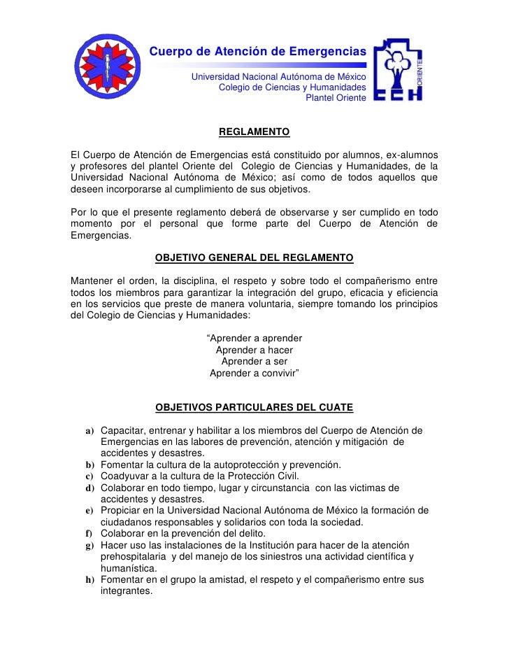 Universidad Nacional Autónoma de México Colegio de Ciencias y Humanidades Plantel Oriente Cuerpo de Atención de Emergencia...