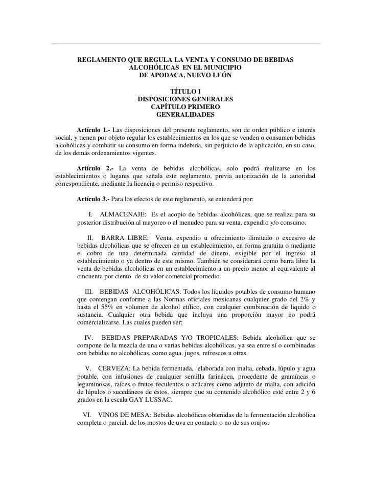REGLAMENTO QUE REGULA LA VENTA Y CONSUMO DE BEBIDAS                    ALCOHÓLICAS EN EL MUNICIPIO                      DE...