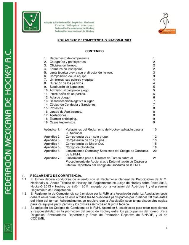 REGLAMENTO DE COMPETENCIA O. NACIONAL 2013                                               CONTENIDO               1.    Reg...