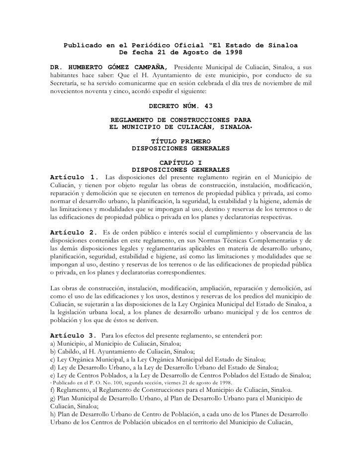 """Publicado en el Periódico Oficial """"El Estado de Sinaloa                   De fecha 21 de Agosto de 1998  DR. HUMBERTO GÓME..."""