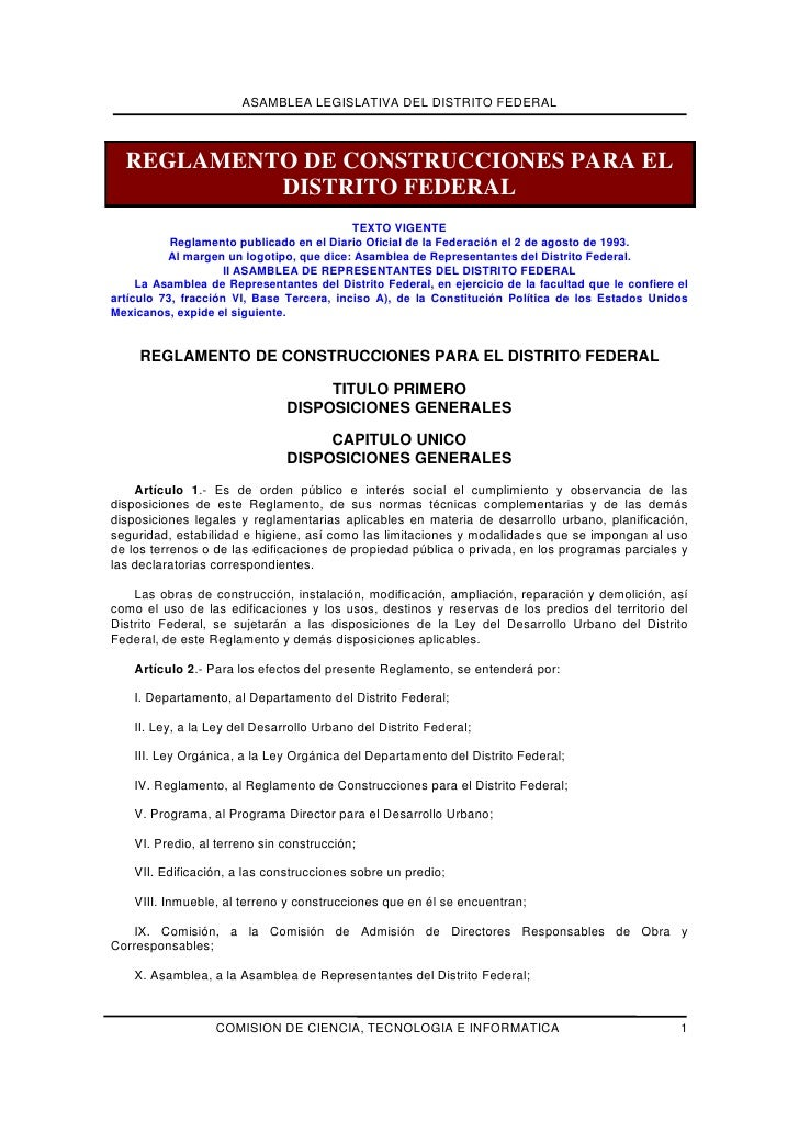 ASAMBLEA LEGISLATIVA DEL DISTRITO FEDERAL  REGLAMENTO DE CONSTRUCCIONES PARA EL           DISTRITO FEDERAL                ...