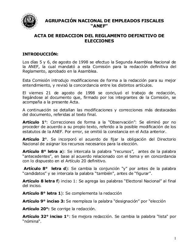 """1 AGRUPACIÓN NACIONAL DE EMPLEADOS FISCALES """"ANEF"""" ACTA DE REDACCION DEL REGLAMENTO DEFINITIVO DE ELECCIONES INTRODUCCIÓN:..."""