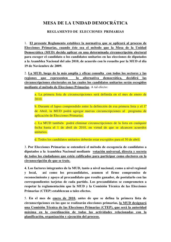 MESA DE LA UNIDAD DEMOCRÁTICA                REGLAMENTO DE ELECCIONES PRIMARIAS   1. El presente Reglamento establece la n...