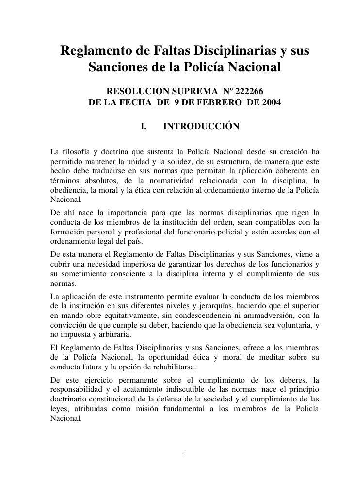 Reglamento de faltas disciplinarias y sus sanciones de la Policía Bol…