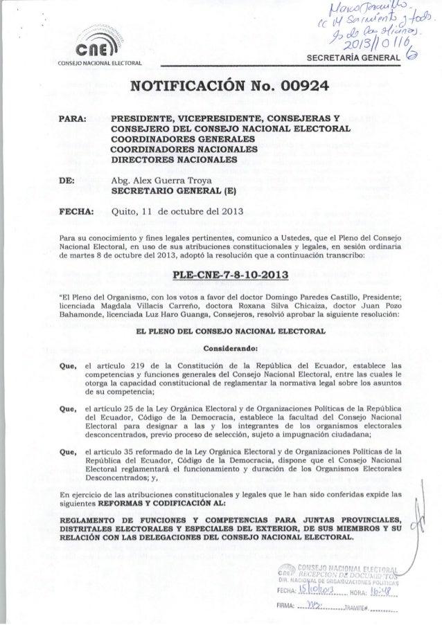 Reglamento de funciones y competencias para juntas provinciales