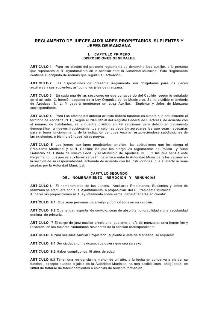 REGLAMENTO DE JUECES AUXILIARES PROPIETARIOS, SUPLENTES Y                      JEFES DE MANZANA                           ...