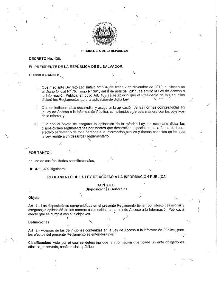 Reglamento de la ley de acceso a la información parte i