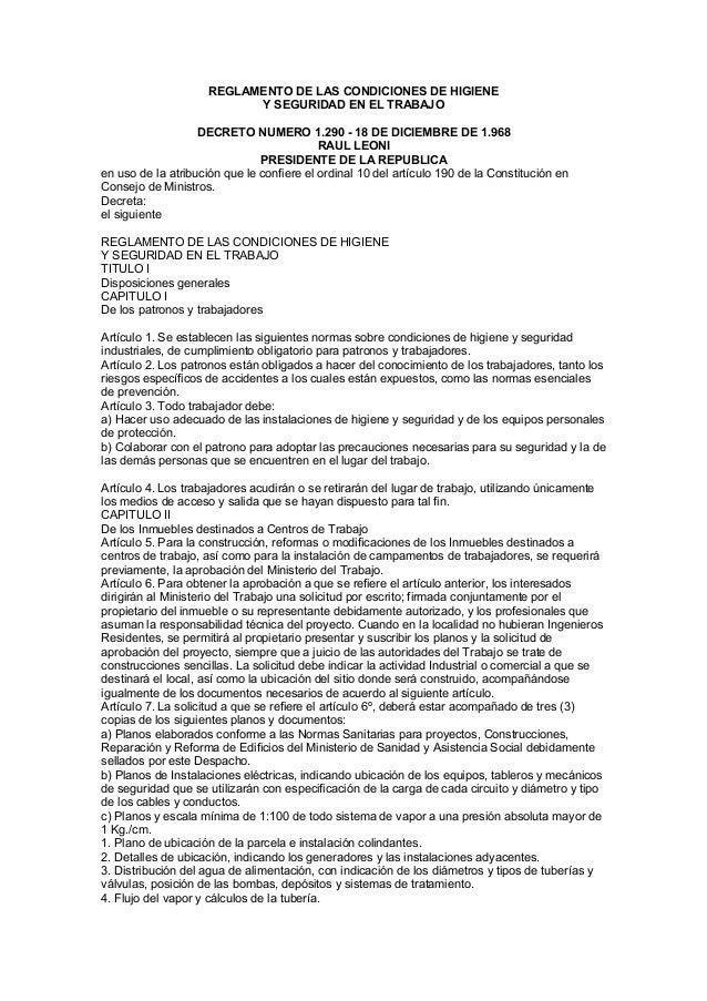 REGLAMENTO DE LAS CONDICIONES DE HIGIENE Y SEGURIDAD EN EL TRABAJO DECRETO NUMERO 1.290 - 18 DE DICIEMBRE DE 1.968 RAUL LE...