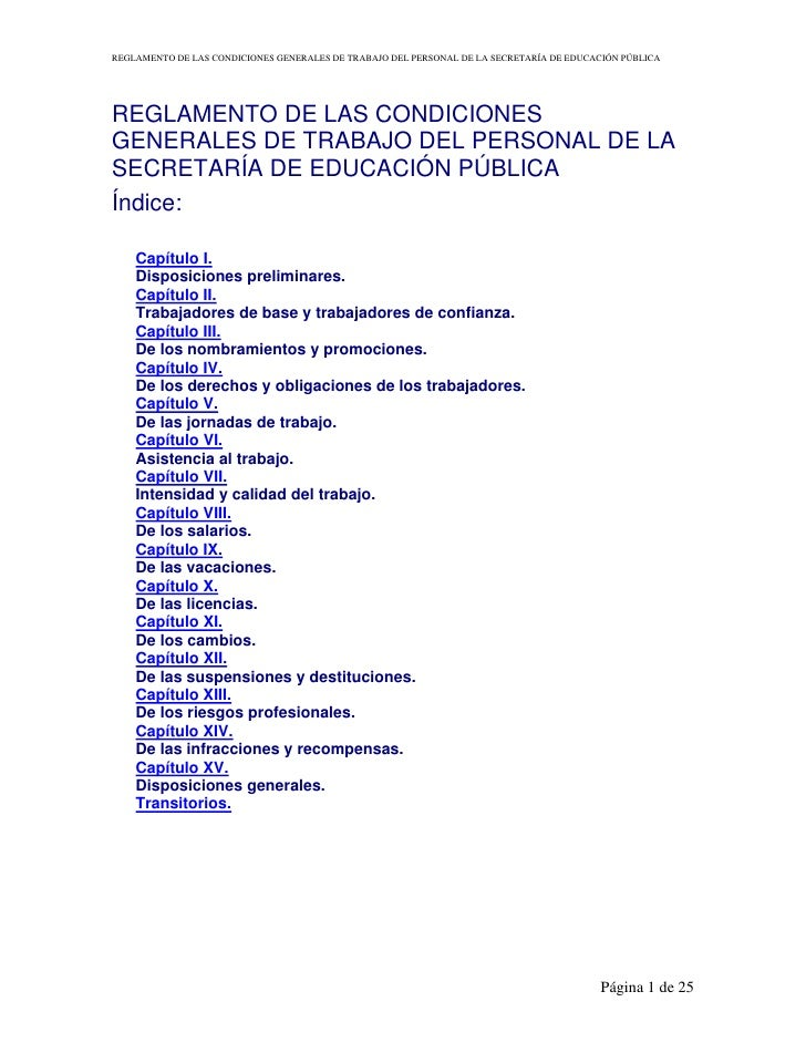 REGLAMENTO DE LAS CONDICIONES GENERALES DE TRABAJO DEL PERSONAL DE LA SECRETARÍA DE EDUCACIÓN PÚBLICA     REGLAMENTO DE LA...