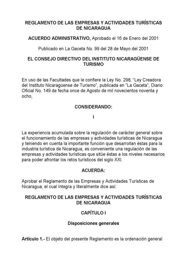 reglamentos para hacer hoteles en nicaragua