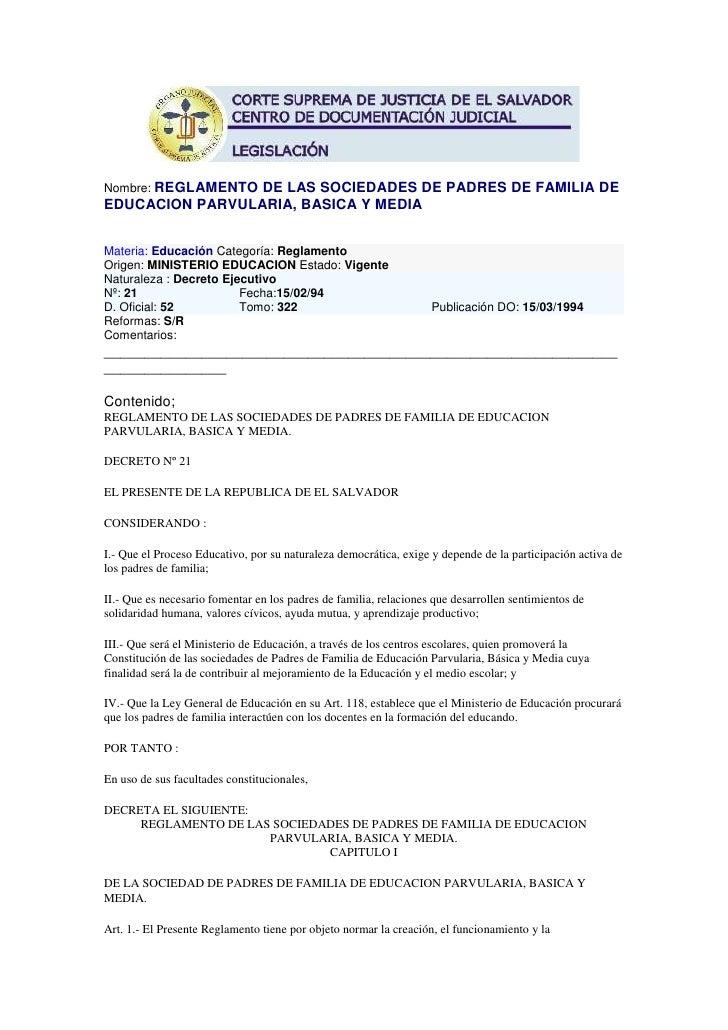 Principio del formulario<br />Nombre: REGLAMENTO DE LAS SOCIEDADES DE PADRES DE FAMILIA DE EDUCACION PARVULARIA, BASICA Y ...