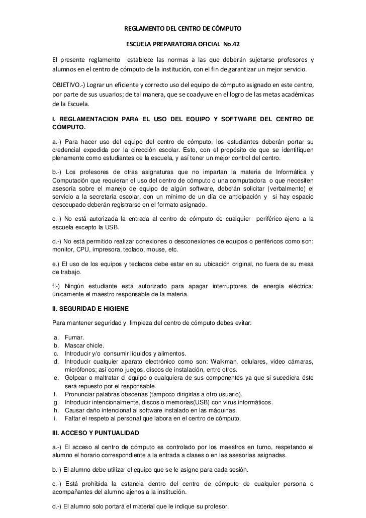 REGLAMENTO DEL CENTRO DE CÓMPUTO                            ESCUELA PREPARATORIA OFICIAL No.42El presente reglamento estab...