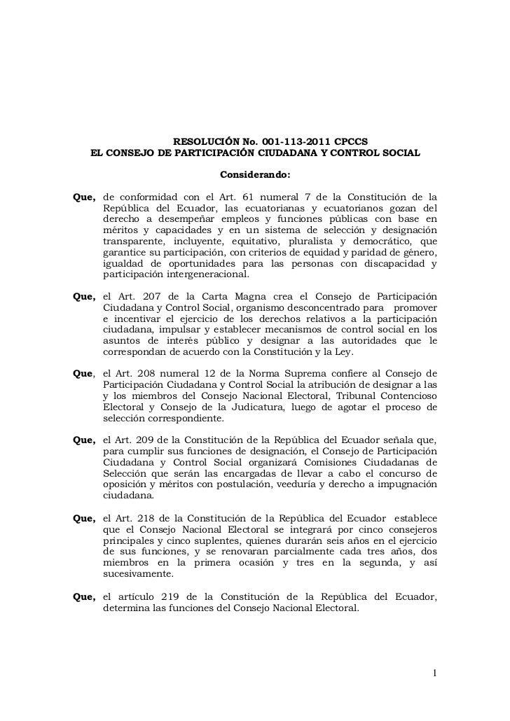 RESOLUCIÓN No. 001-113-2011 CPCCS   EL CONSEJO DE PARTICIPACIÓN CIUDADANA Y CONTROL SOCIAL                               C...