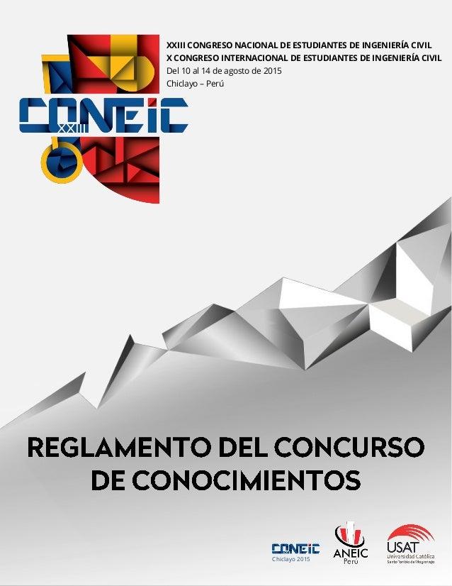 XXIII CONGRESO NACIONAL DE ESTUDIANTES DE INGENIERÍA CIVIL X CONGRESO INTERNACIONAL DE ESTUDIANTES DE INGENIERÍA CIVIL Del...