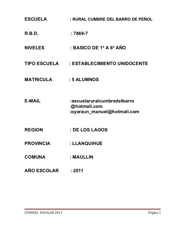 ESCUELA                : RURAL CUMBRE DEL BARRO DE PEÑOLR.B.D.                 : 7869-7NIVELES                : BASICO DE ...