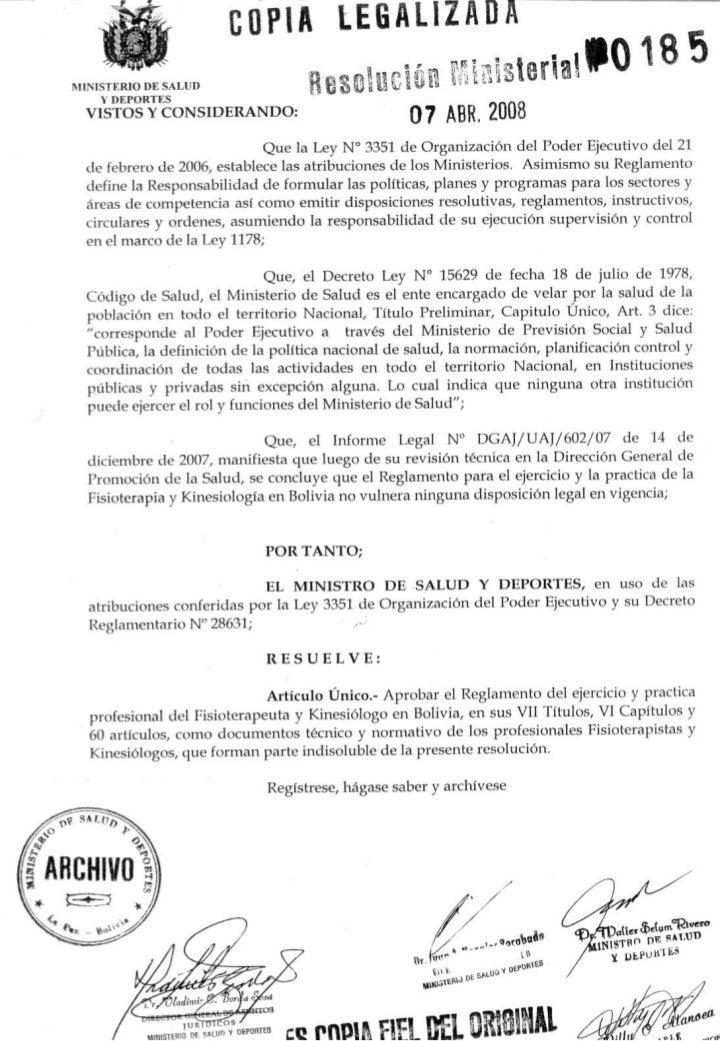 EGLAMENTO DEL EJERCICIO Y PRÁCTICA PROFESIONAL        DEL FISIOTERAPEUTA Y KINESIOLOGO                      TITULO I      ...