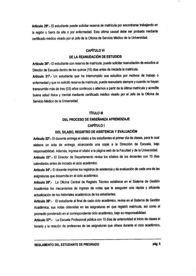 Reglamento del estudiante de pregrago 2015 - UNT