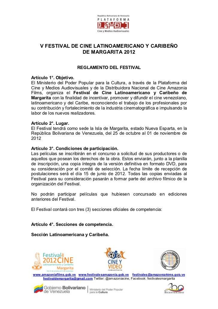 V FESTIVAL DE CINE LATINOAMERICANO Y CARIBEÑO                   DE MARGARITA 2012                         REGLAMENTO DEL F...