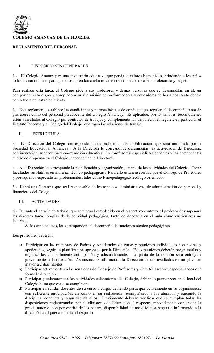 COLEGIO AMANCAY DE LA FLORIDAREGLAMENTO DEL PERSONAL   I.      DISPOSICIONES GENERALES1.- El Colegio Amancay es una instit...